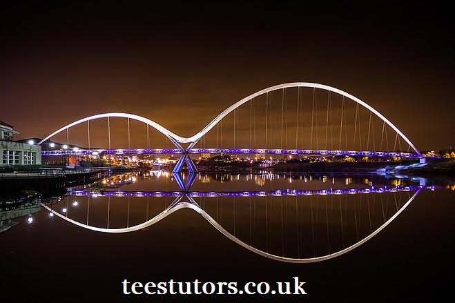 Image showing the River Tees spanned by the Infinity Bridge with the teesturors website address below on a page for the service area internal links section of Maths.TeesTutors